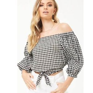 Forever 21 • Red Gingham Off the Shoulder Top